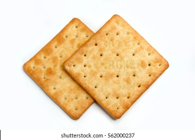 cream cracker on white isolated background