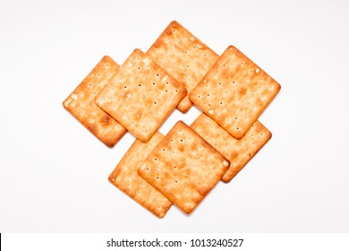 Cream crackers biscuit on white isolated background