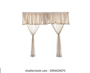 Cream curtain,isolated on white background with clipping path.
