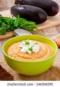 cream of eggplant soup with feta