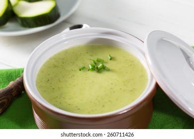 Cream of fresh zucchini in a casserole