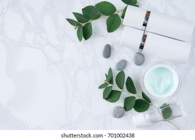 cream jar and tubes for skin care face. copy space