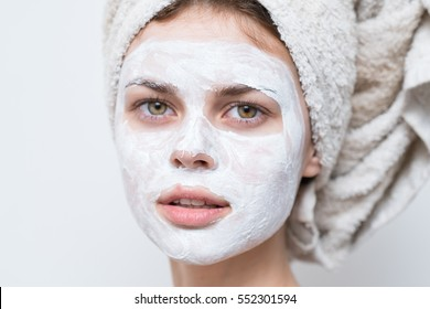 cream on her face, mask, skin, woman
