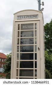 Cream phonebooth. The local telecommunications company is the only one in the UK which owns the telephone exchange. The cream coloured booths are unique to the area of East Yorkshire in Britain.