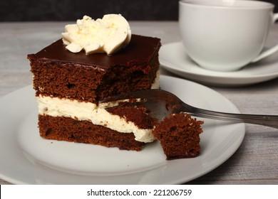 Cream Pie. Chocolate Sponge Cake filled with whipped cream.