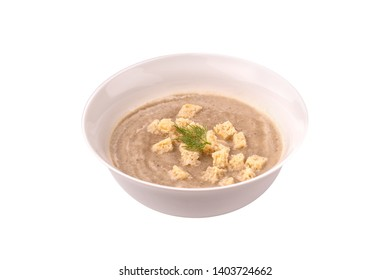 Cream soup with croutons on the white background