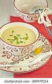 cream soup vegetables  mushroom, vegetarian, food, vegan, veggie, potato, champignon, bowl, parsley, no meat, dinner, asparagus