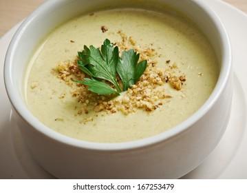 cream soup in white bowl  closeup