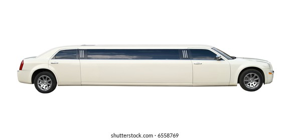 Cream stretched limousine for celebrities and special events. Isolated on white background. Clipping path included.