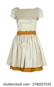Cream white and orange retro summer dress isolated on white background