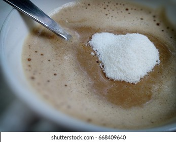 Creamer topping on  the coffee