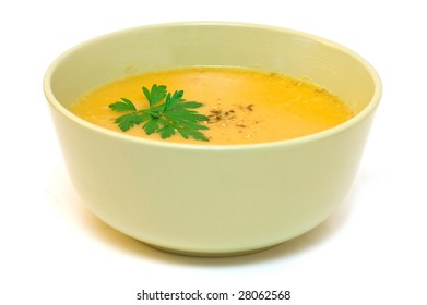 creamy carrot soup, isolated