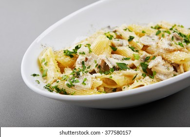 Creamy cheese penne pasta with mushrooms