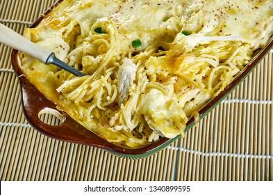 Creamy, Cheesy Chicken Spaghetti , satisfying baked spaghetti casserole dish