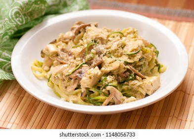 creamy chicken alfredo with zucchini noodles , a ketogenic diet meal