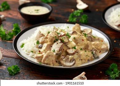 Creamy Chicken and mushroom with white rice