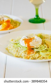Creamy leek risotto with fresh poached egg