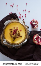Creamy mascarpone cheese cake . New York Christmas dessert. Healthy food. Creative atmospheric decoration.