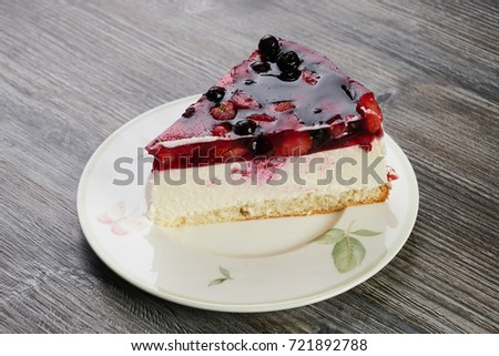 Creamy Mascarpone Cheesecake Strawberry Winter Berries Stock Photo