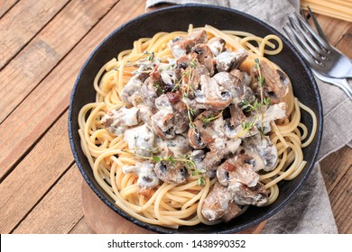 Creamy Mushroom Pasta. Delicious vegetarian dinner.