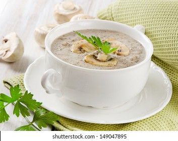 Creamy mushroom soup. Selective focus