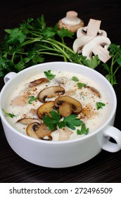creamy soup pureed mushrooms and slices of chicken