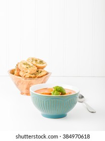 Creamy tomato basil soup with crostini.  Useful for many food service marketing applications.