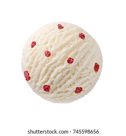 Creamy vanilla ice cream scoop with strawberry pieces / White chocolate milk ice-cream ball with strawberries red fruit