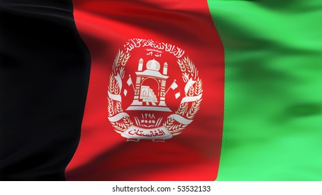Creased Afghan cotton  flag with wrinkles and seams