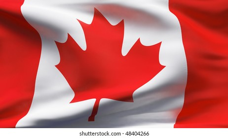Creased Canadian cotton flag with visible stitch