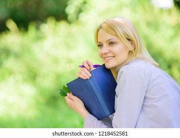 Create break for yourself. Smart time management. Save your time. Time management skill. Girl with business diary create her daily schedule. Woman relax nature background. Save time for relax.