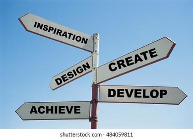 Create Inspiration design develop achieve sign post