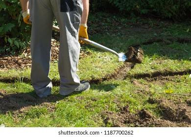 Create lawn edge in the garden