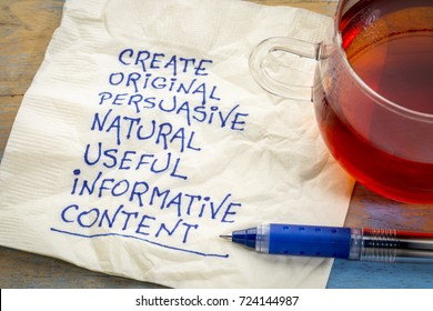 create original, persuasive, natural, useful, informative content - writing content advice - handwriting on napkin with cup of tea