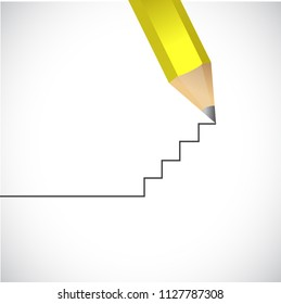 Create your own path. build your own road. concept. bussiness concept illustration. over a blue background