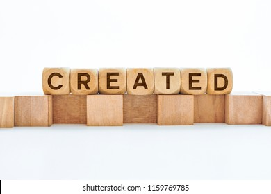 Created word on wooden cubes