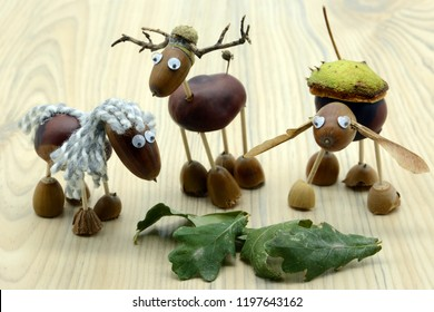 creating acorn chestnut figures like horse and deer in autumn time. childhood tinker.