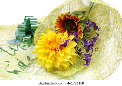 Creating bouquet of artificial flowers - floristics and decoration