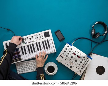 Creating Music Concept, Hands Tuning Music Equipment