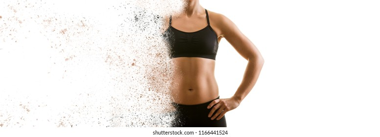 Creating the perfect female upper body concept. Dispersion effect. Isolated on white background.