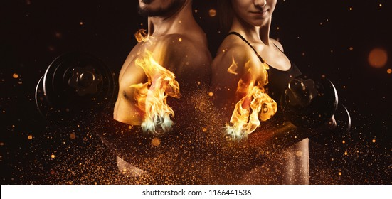 Creating the perfect male and female upper body concept. Dispersion effect.