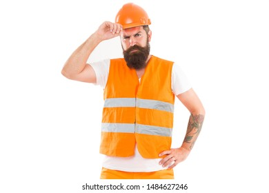 Creating solid foundation. Man protective hard hat and uniform white background. Worker builder confident and successful. Protective equipment concept. Builder enjoy success. Strong handsome builder.