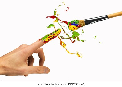 Creation of color between hand and paintbrush