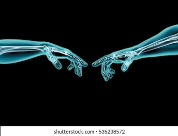 Creation hands x-ray / 3D illustration of x-rayed hands reaching to touch fingers