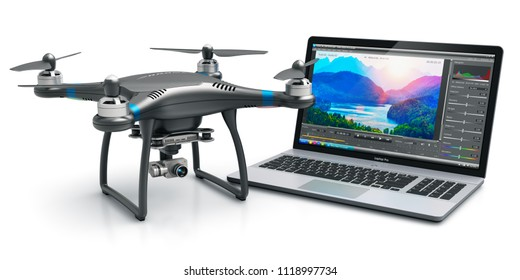 Creative 3D render illustration of the black professional quadcopter drone and laptop of notebook computer PC with video and footage editing software on screen display isolated on white background