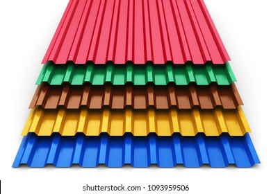 Creative abstract 3D render illustration of the stack or group of stacked color metal steel profile sheets for roof and roofing construction industry isolated on white background