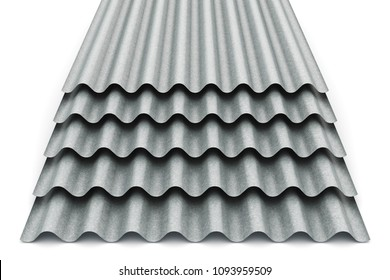 Creative abstract 3D render illustration of the stack or group of stacked metal steel zinc-plated or galvanized wave shaped profile sheets for roof and roofing construction industry isolated on white