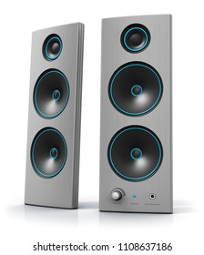 Creative abstract 3D render illustration of desktop computer PC audio stereo speakers isolated on white background