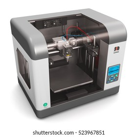 Creative abstract 3d render illustration of new technologies concept: modern professional plastic 3D printer isolated on white background