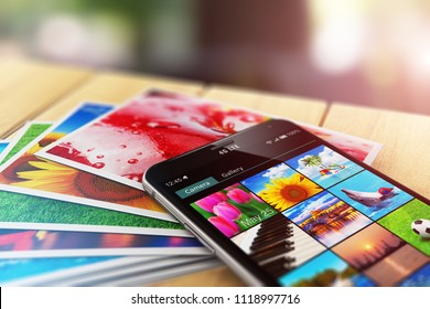 Creative abstract 3D render of the macro view of stack of color photo pictures and smartphone with image gallery app on the screen on wooden table outdoors with selective focus bokeh blur effect